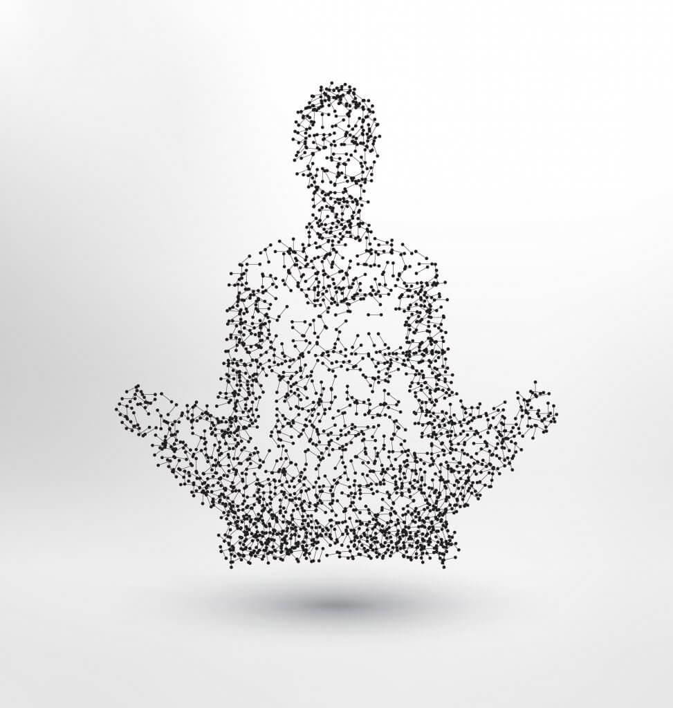 vários pontos se conectando retratando a energia da apometria e formando uma figura de uma pessoa  em pose de meditação.