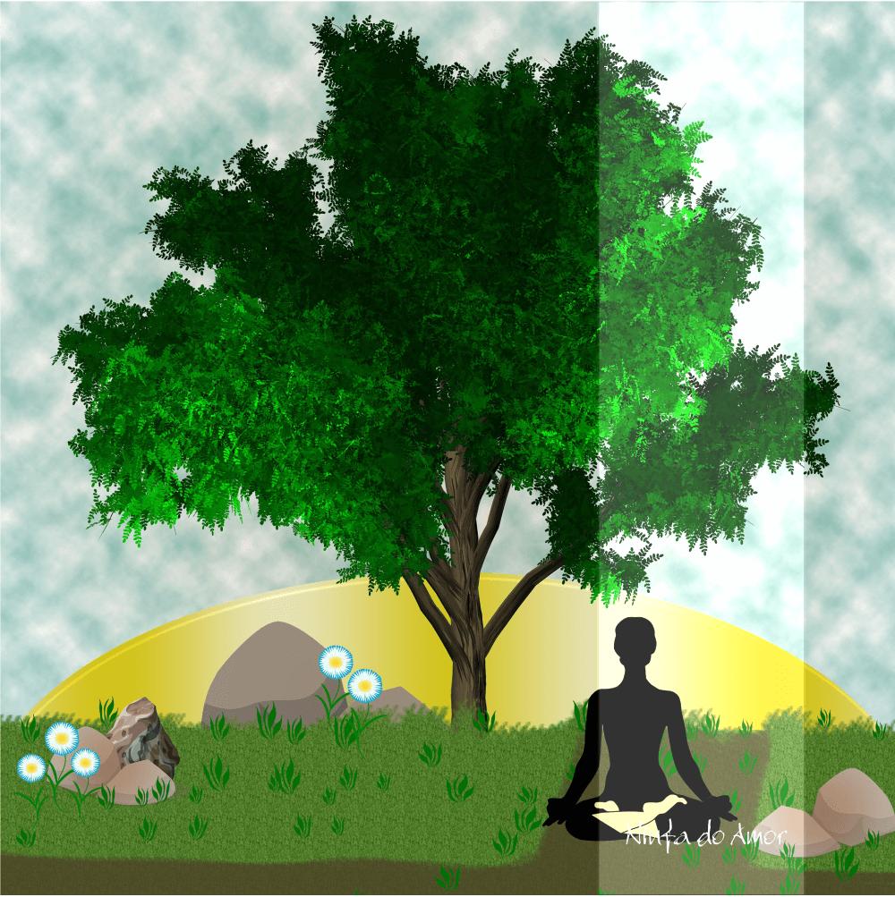 desenho de uma pessoa sentada no solo, próximo a uma árvore sob a iluminação do sol captando o prana.
