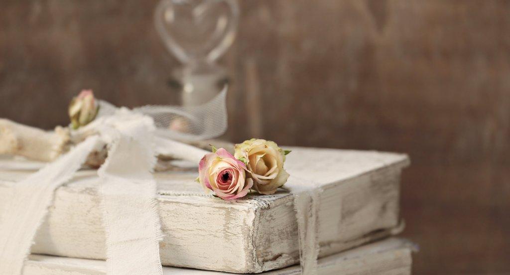 um livro antigo e sobre ele uma rosa sugerindo a lembrança de ninfa do amor